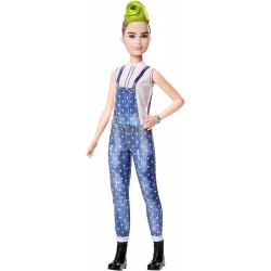 Кукла Барби Модница Barbie Fashionistas Doll with Green Striped Mohawk Wearing Denim Overalls Petite Body Type 124