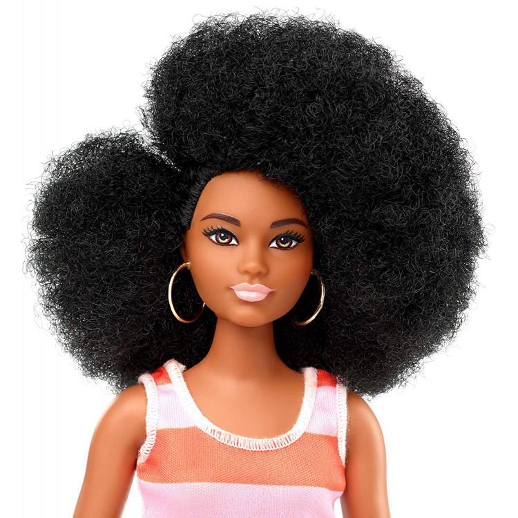 Барбі Модниця Barbie Fashionistas Doll, Curvy Body Type with Stripe Cut-Out Dress 105