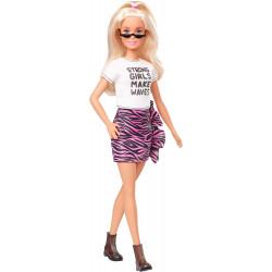 Лялька Барбі Модниця Barbie Fashionistas Doll with Long White Blonde Hair Wearing Graphic T-Shirt, Pink Animal-Print Skirt 148