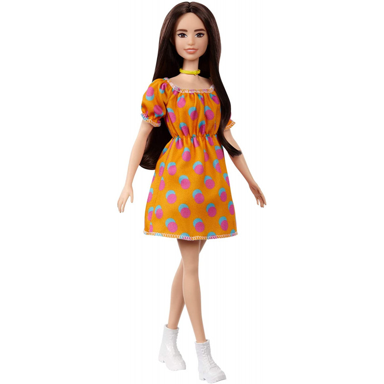 Лялька Барбі Модниця Barbie Fashionistas Doll with Long Brunette Hair Wearing Polka Dot Orange Dress 160
