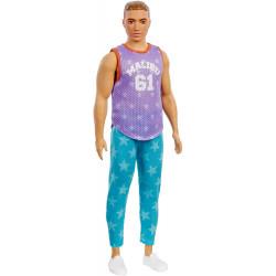 "Кукла Кен Модник Barbie Ken Fashionistas Doll with Sculpted Brown Hair Wearing Purple ""Malibu"" Top, Blue Starred Joggers 164"