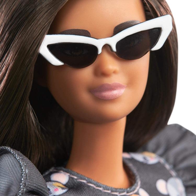 Лялька Барбі Модниця Barbie Fashionistas Doll with Long Brunette Hair Wearing Mouse-Print Dress 140