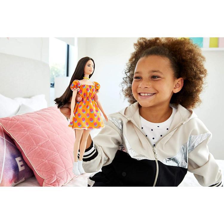 Кукла Барби Модница Barbie Fashionistas Doll with Long Brunette Hair Wearing Polka Dot Orange Dress 160