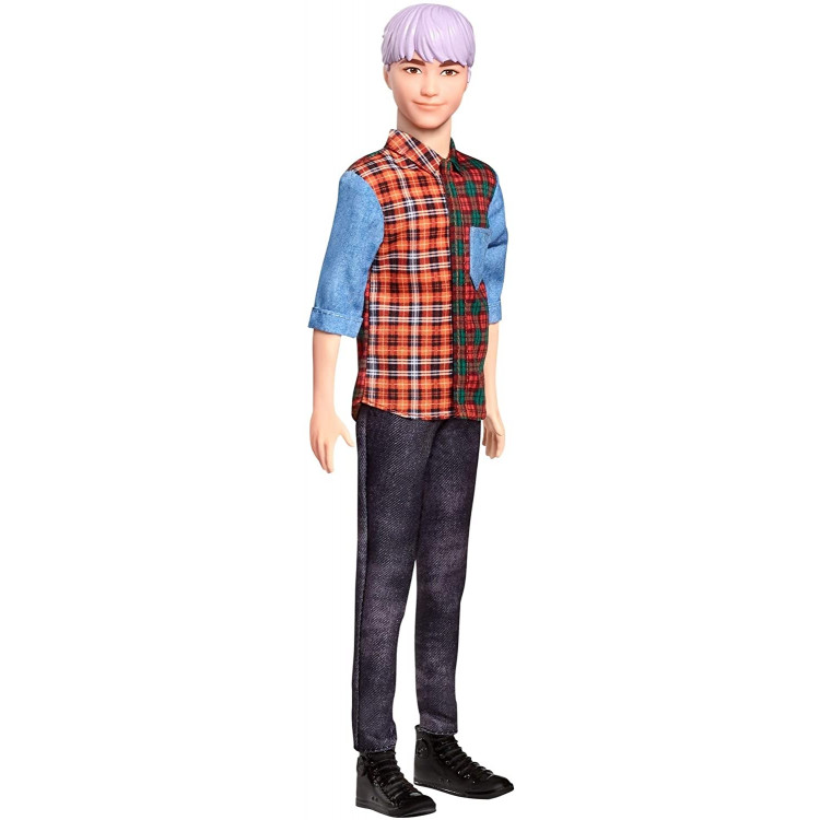 Лялька Кен Моднік Barbie Ken Fashionistas Doll with Sculpted Purple Hair Wearing A Color-Blocked Plaid Shirt 154