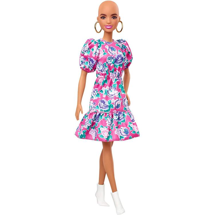 Лялька Барбі Модниця Barbie Fashionistas Doll with No-Hair Look Wearing Pink Floral Dress 150