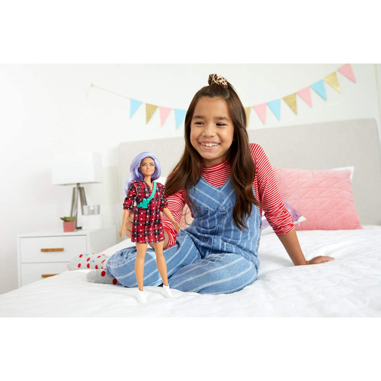 Лялька Барбі Модниця Barbie Fashionistas Doll with Lavender Hair Wearing Red Plaid Dress 157