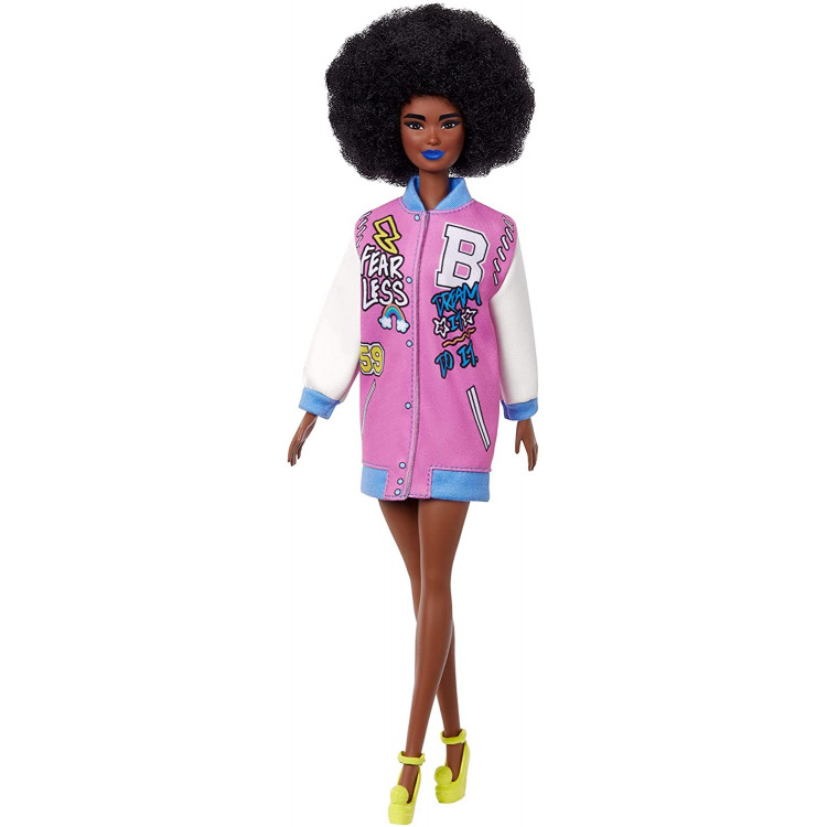 Кукла Барби Модница Barbie Fashionistas Doll with Brunette Afro & Blue Lips Wearing Graphic Coat Dress 156