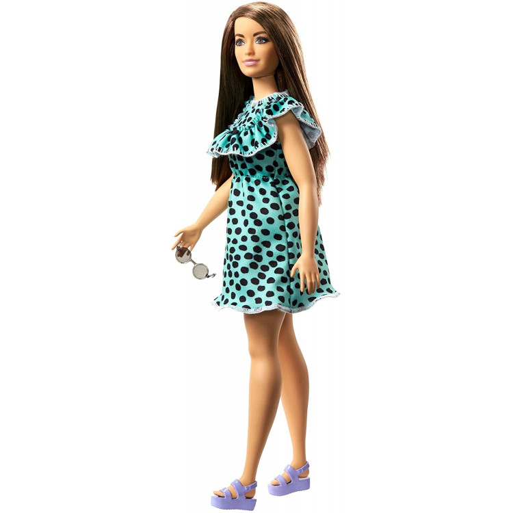 Лялька Барбі Модниця Barbie Fashionistas Doll with Long Brunette Hair Wearing Black & Aqua Polka-Dot Dress 149
