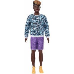 Кукла Кен Модник Ken Fashionistas Doll Sculpted Dreadlocks with Ombre Hair & Animal-Print Sweatshirt 153