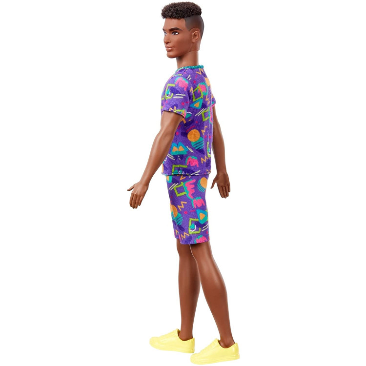 Кукла Кен Модник Barbie Ken Fashionistas Doll with Rooted Brunette Hair Wearing Graphic Purple Top, Shorts 162