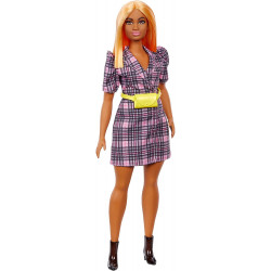 Лялька Барбі Модниця Barbie Fashionistas Doll with Orange Hair Wearing Pink Puff Sleeve Plaid Blazer Dress 161