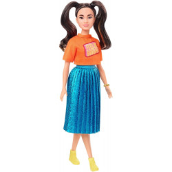Лялька Барбі Модниця Barbie Fashionistas Doll with Long Brunette Pigtails Wearing Orange T-Shirt 145