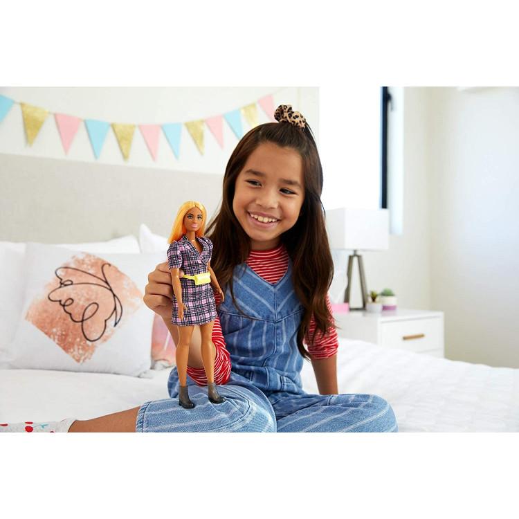 Кукла Барби Модница Barbie Fashionistas Doll with Orange Hair Wearing Pink Puff Sleeve Plaid Blazer Dress 161