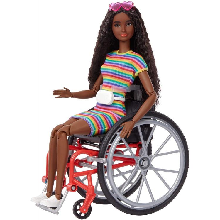Лялька Барбі Модниця у кріслі-візку Barbie Fashionistas Doll with Wheelchair & Ramp, Crimped Brunette Hair 166