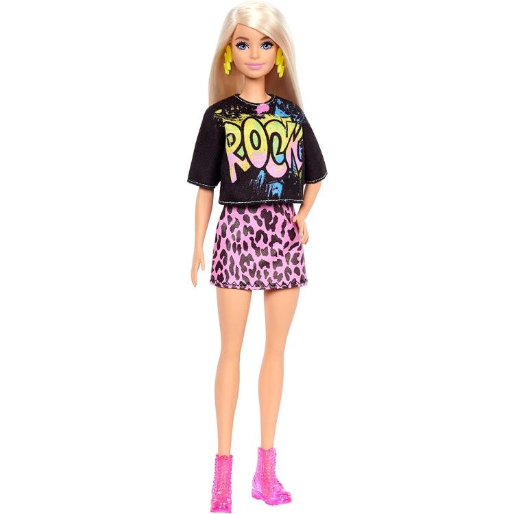 "Лялька Барбі Модниця Barbie Fashionistas Doll with Long Blonde Hair Wearing ""Rock"" Graphic T-Shirt, Animal-Print Skirt 155"