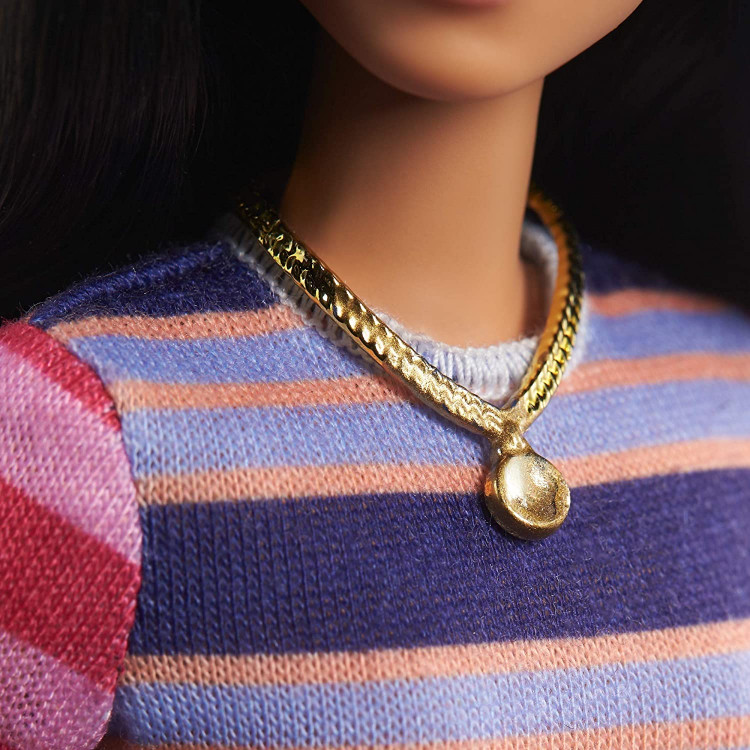 Лялька Барбі Модниця Barbie Fashionistas Doll with Long Brunette Hair Wearing Striped Dress 147
