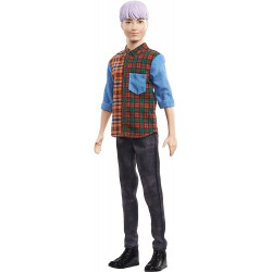 Кукла Кен Модник Barbie Ken Fashionistas Doll with Sculpted Purple Hair Wearing A Color-Blocked Plaid Shirt 154
