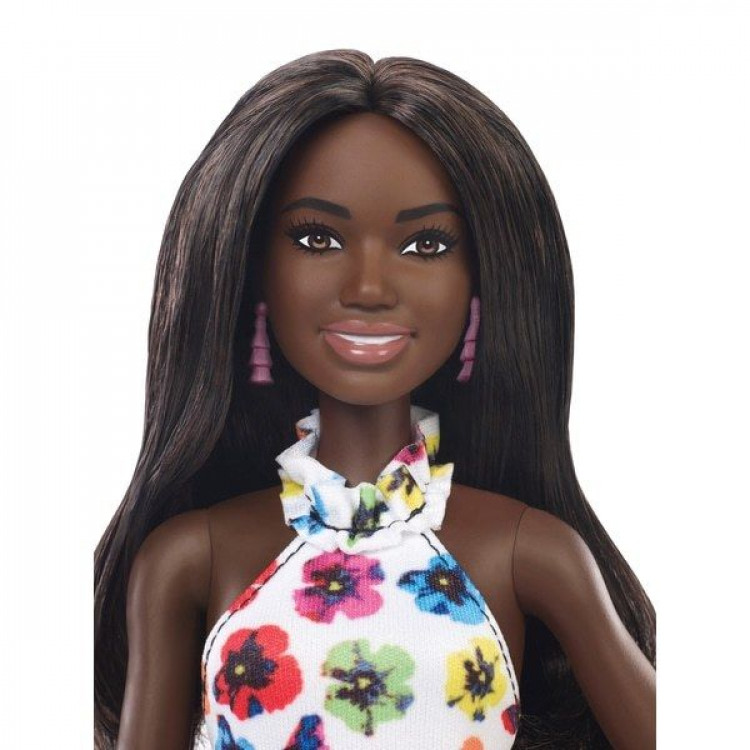 Барбі Модниця Barbie Fashionistas Doll Tall with Brunette Hair & Floral Dress 106