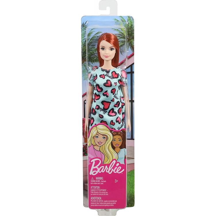 Лялька Барбі Стиль Руда в блакитній сукні Barbie Doll, Red Hair Blue and Pink Heart-Print Dress