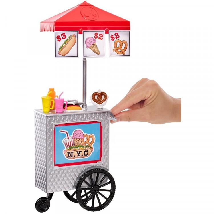Барбі та візок Хот дог Barbie Pink Passport Hot Dog Stand Playset