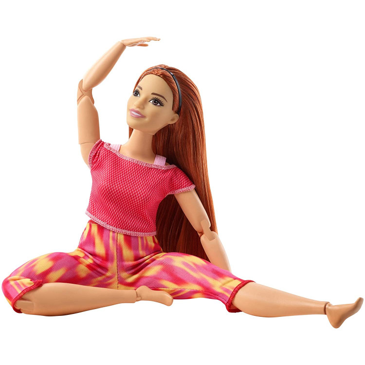 Лялька Барбі Йога рухайся як я Barbie Made to Move Doll Wearing Orange Dye Pants, Long Straight Red Hair
