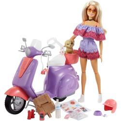 Кукла Барби Путешествие на скутере Barbie Pink Passport Travel Doll with Purple Scooter