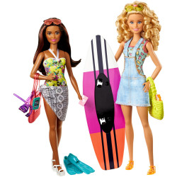 Набор кукол Барби приключение на пляже Barbie Pink Passport Camping Adventure Dolls Gift Set
