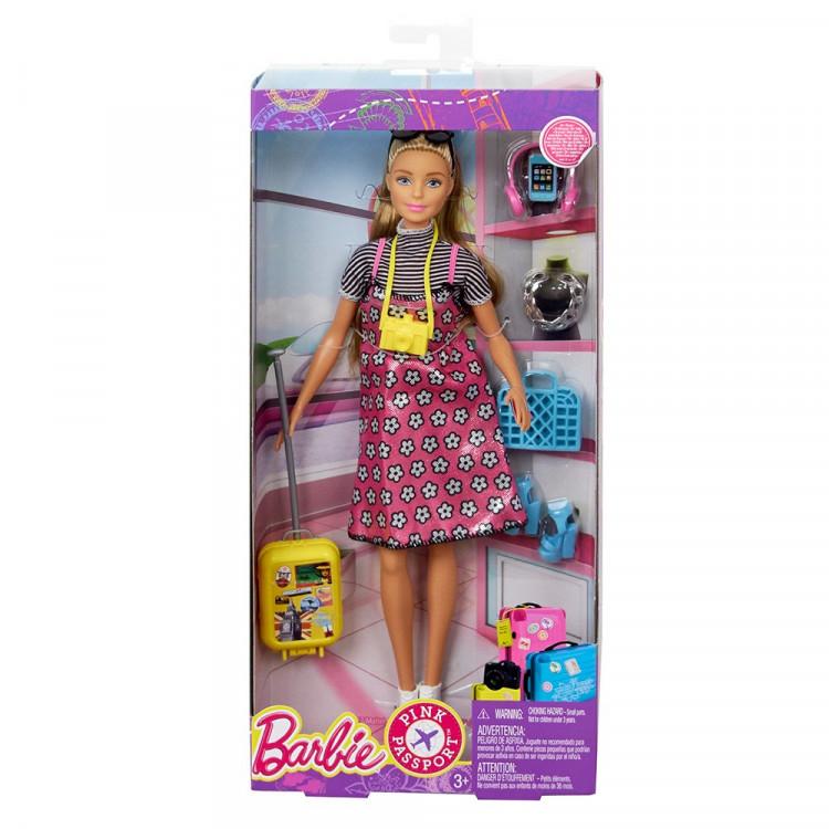 Барбі та набір для подорожі Barbie Pink Passport Doll Travel Set