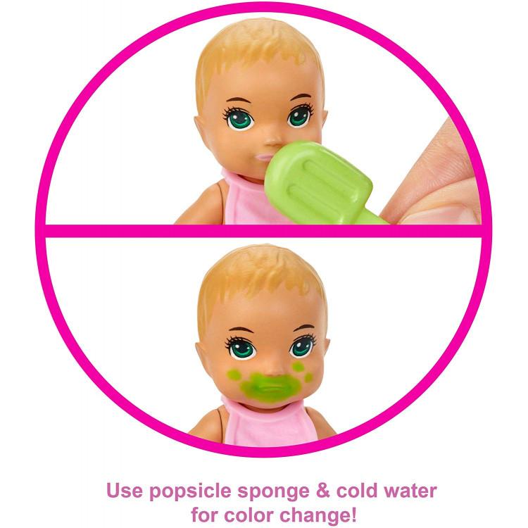 Барби пупс младенец Barbie Skipper Babysitters Inc. Feeding and Bath-Time Playset with Color-Change Baby Doll