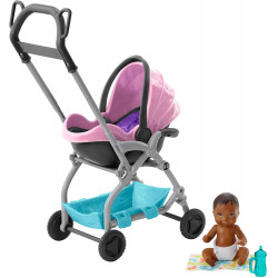 Набор коляска для младенца Барби Barbie Skipper Babysitters Inc. Pink Stroller Playset