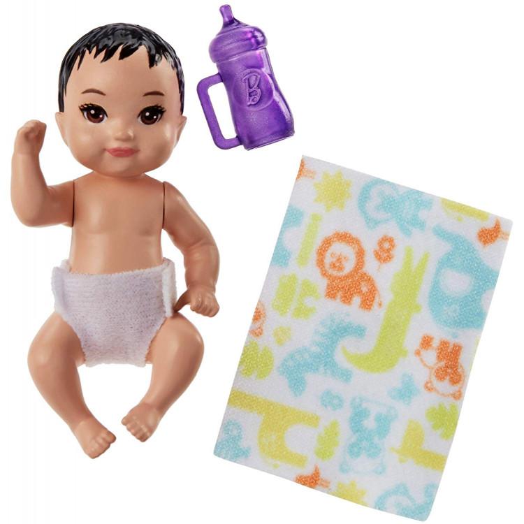 Барбі немовля Barbie Babysitters Inc. Sick Baby Story Pack Black, Purple
