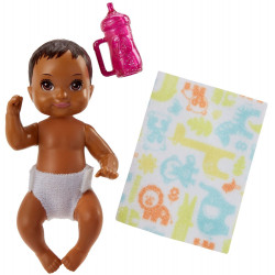 Барби пупс младенец Barbie Babysitters Inc. Sick Baby Story Pack Brown, Pink