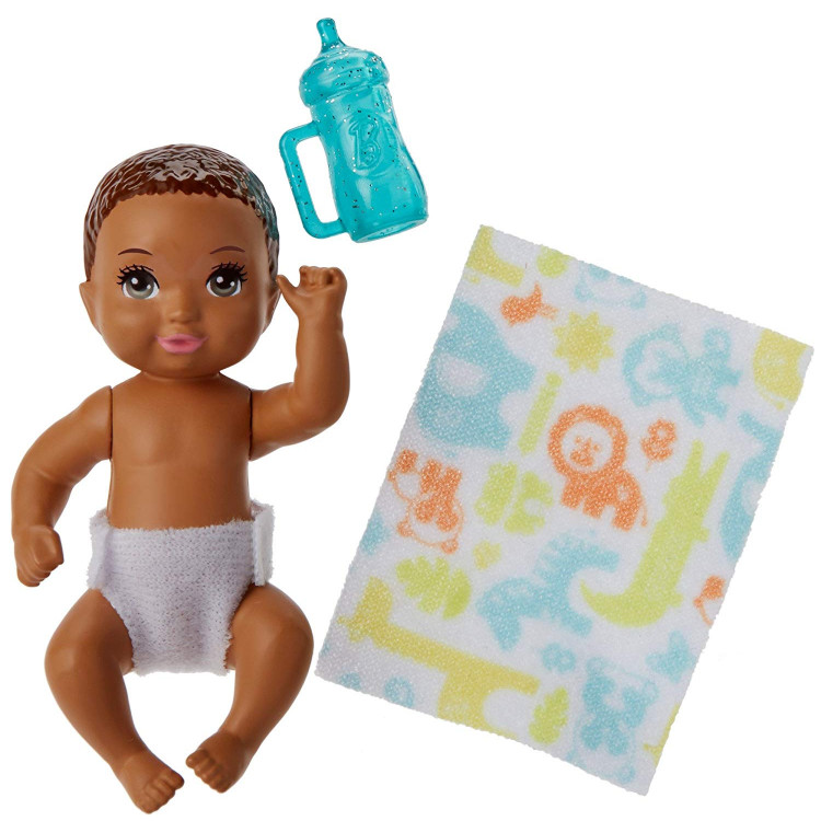 Барби пупс младенец Barbie Babysitters Inc. Diaper Change Baby Story Pack Brown, Blue