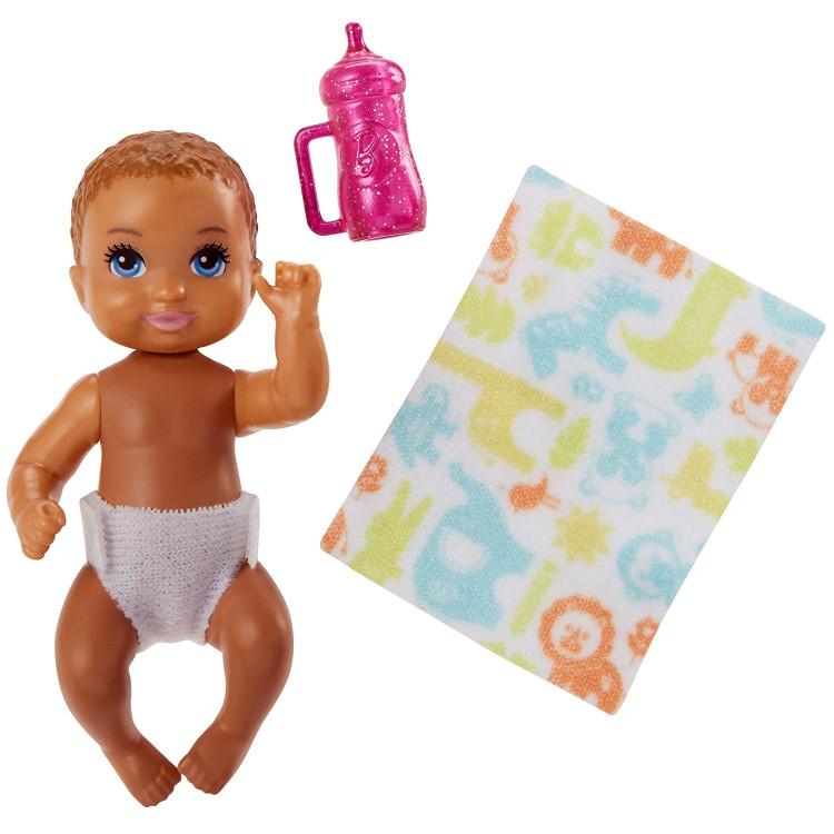 Барби пупс младенец Barbie Babysitters Inc. Sleepy Baby Story Pack Light Brown, Pink