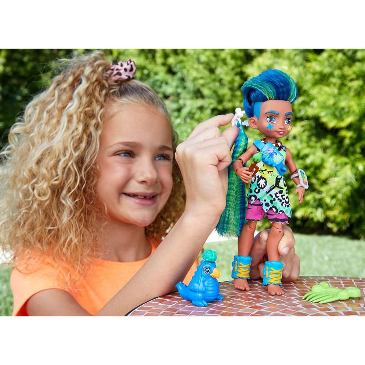Лялька Слейт та вихованець Теггі Печерний клуб з неоновим пасмом Cave Club Slate Doll with Taggy Dinosaur Pet & neon-bright hair