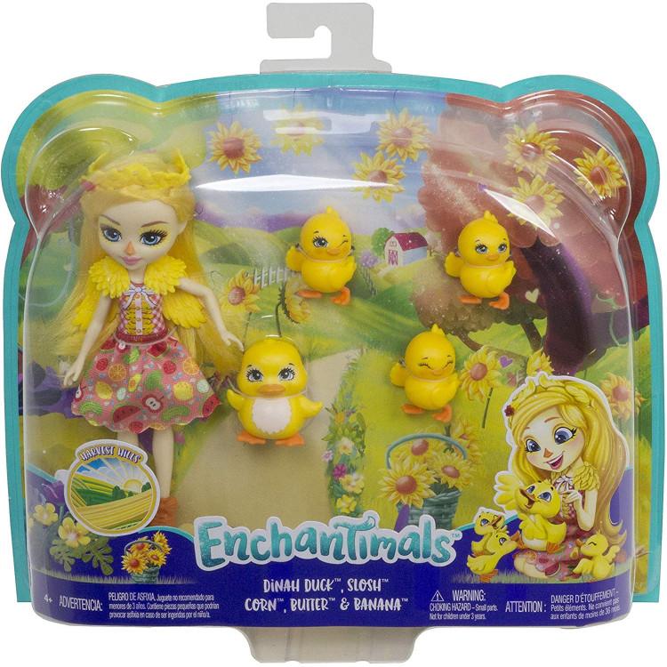 Лялька Каченя Діна та Слош з каченятами Enchantimals Dinah Duck Doll with Slosh & Family
