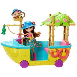 Игровой набор Лодка в джунглях Обезьянки Мерит Enchantimals Junglewood Boat & Merit Monkey Doll