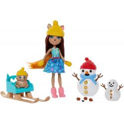 Игровой набор Встреча со снеговиком Белка Шарлотта Enchantimals Snowman Face-Off with Sharlotte Squirrel Doll