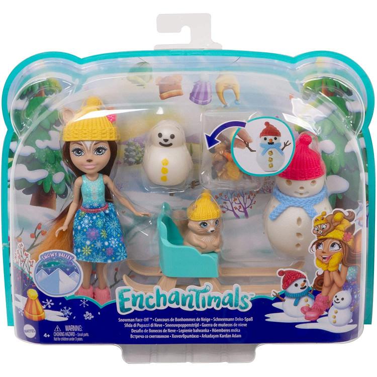 Ігровий набір Зустріч зі сніговиком Білка Шарлотта Enchantimals Snowman Face-Off with Sharlotte Squirrel Doll