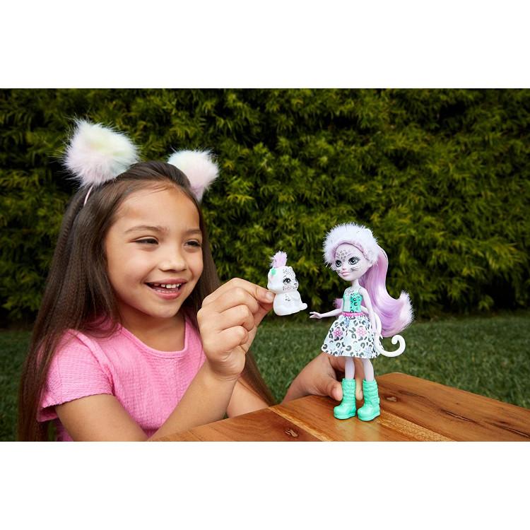 Кукла Снежный леопард Сибилл и Флейк Enchantimals Sybill Snow Leopard Doll & Flake Animal Friend