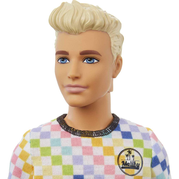 Кукла Кен Модник Barbie Ken Fashionistas Doll with Sculpted Blonde Hair Wearing a Surf-Inspired Checkered Shirt 174