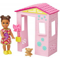 Лялька Барбі Скіппер Малятко та будиночок Barbie Skipper Babysitters Inc. Small Toddler Doll & Pink Playhouse