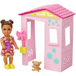 Кукла Барби Скиппер Малышка и домик Barbie Skipper Babysitters Inc. Small Toddler Doll & Pink Playhouse
