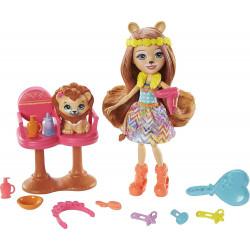 Игровой набор Стильный салон с куклой Лейси Лев Enchantimals Sunny Savanna Stylin' Salon Playset Lacey Lion Doll
