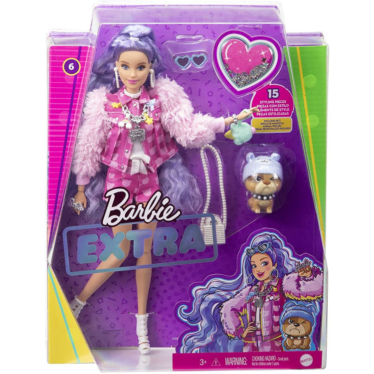 Кукла Барби Экстра Модница в куртке с принтом Розовый плюшевый мишка Barbie Extra Doll #6 in Pink Teddy Bear Print Denim Jacket with Pet Puppy