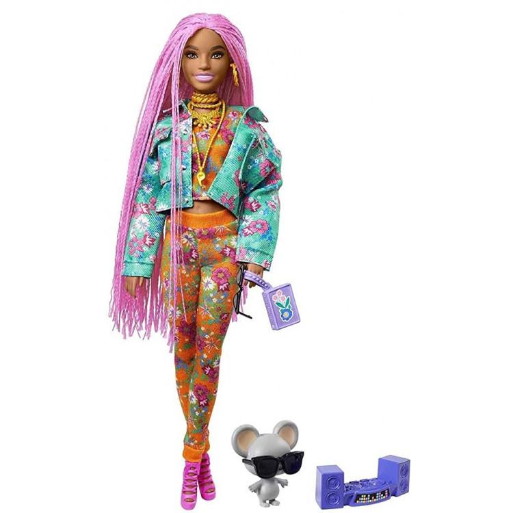 Лялька Барбі Екстра Модниця в куртці з довгими рожевими косичками Barbie Extra Doll #10 in Floral-Print Jacket & Jogger Set with DJ Mouse Pet